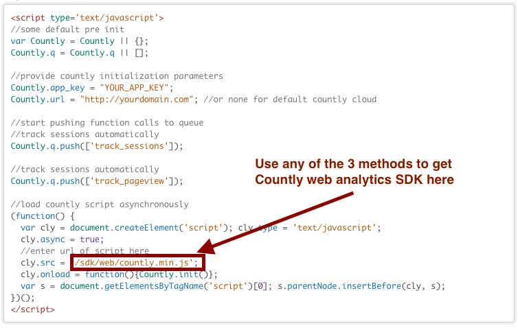 Using Countly web SDK in your web page