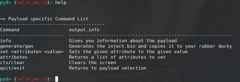 Payload Commands