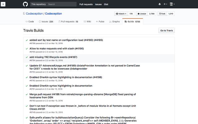 Builds Tab for GitHub