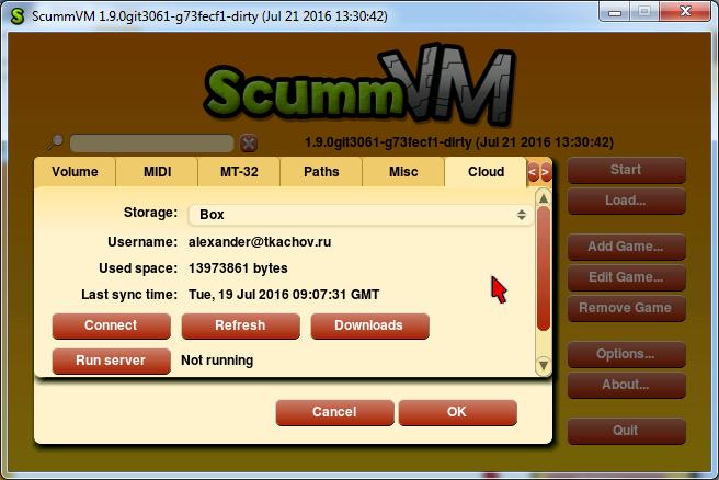 Options dialog Cloud tab