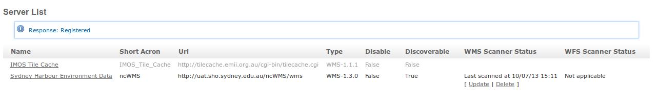 WMS Scanner Status