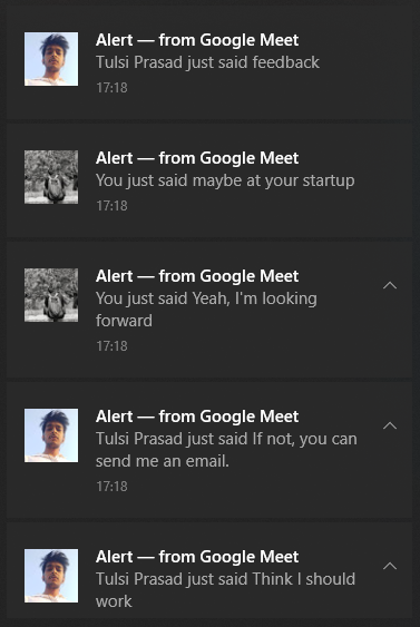 Notifications as they appear