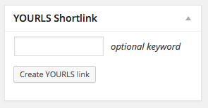 Metabox to create YOURLS link with optional keyword field