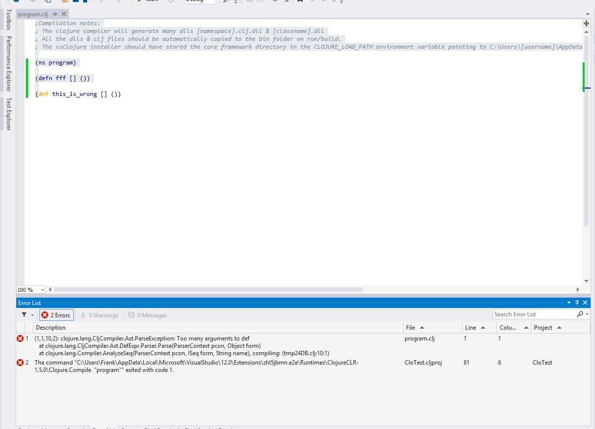 vsclojure-compile-errors
