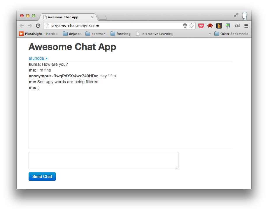 Meteor Chat App in Action