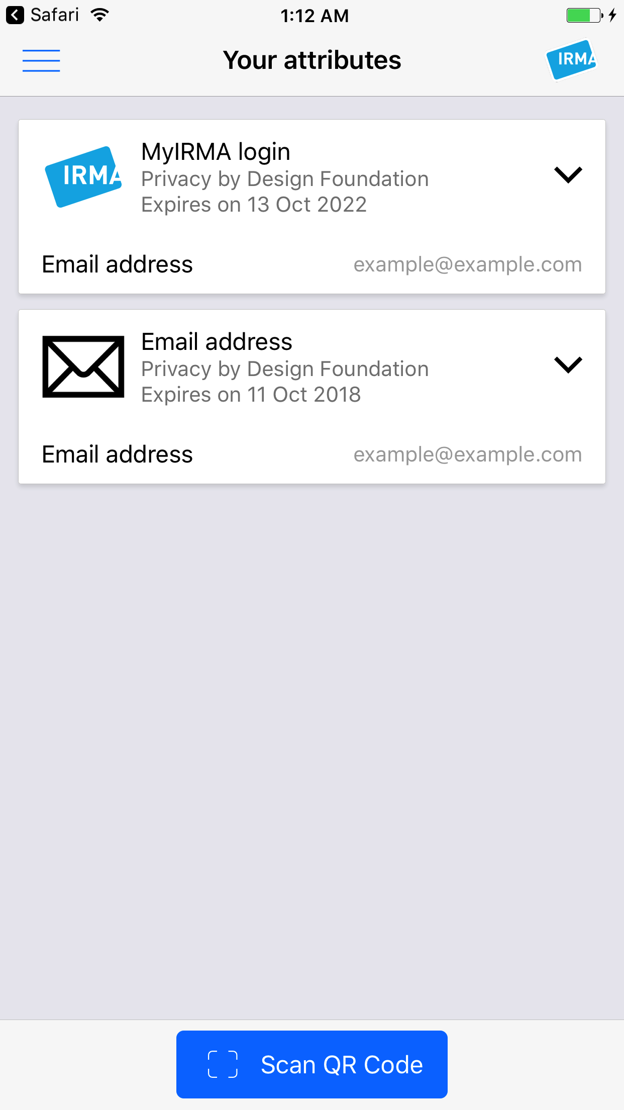 Screenshot of the IRMA app on iOS, showing the 'Your Attributes' screen with two credentials.