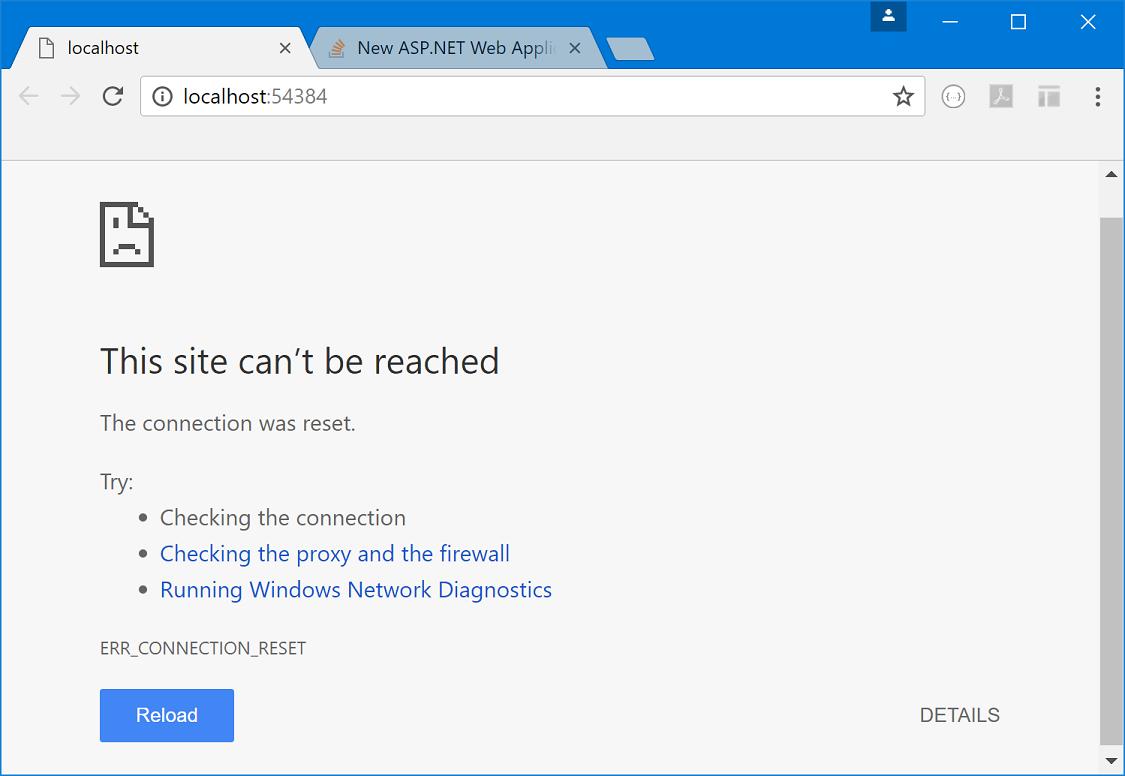 ASP NET Core 1 1 web application does not start when running