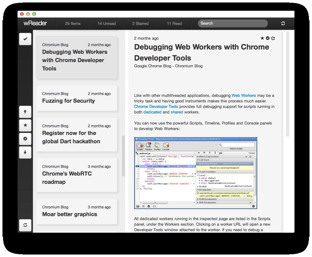 wReader screenshot
