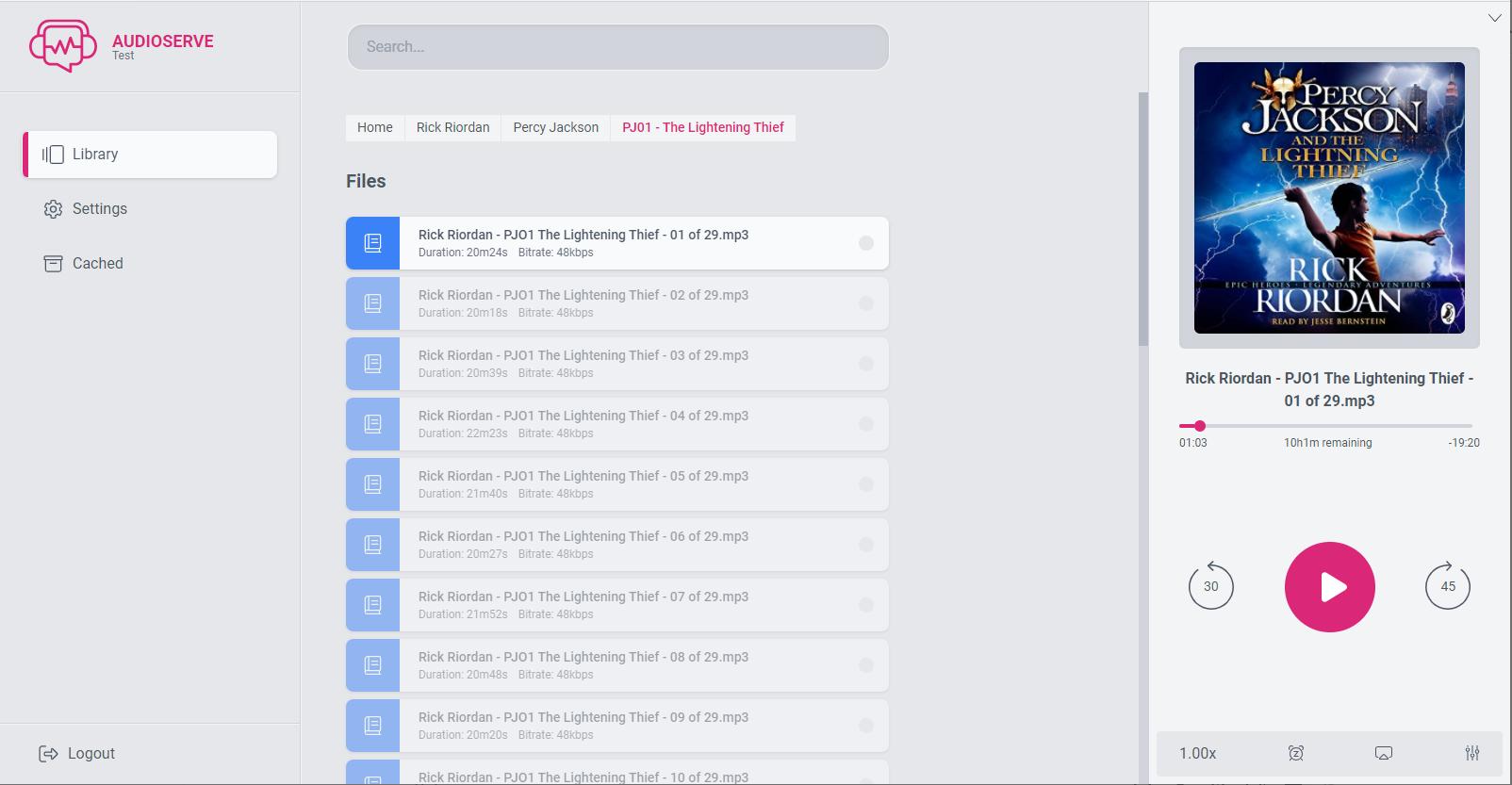 Audioserve UI - Light mode