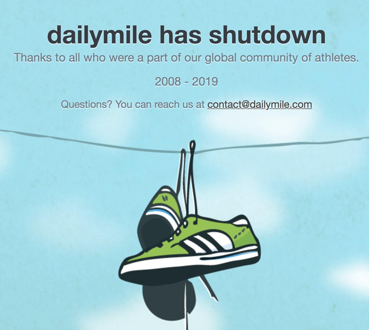 dailymile shutdown screenshot
