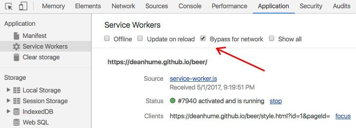 Chrome Developer Tools -Bypass for network