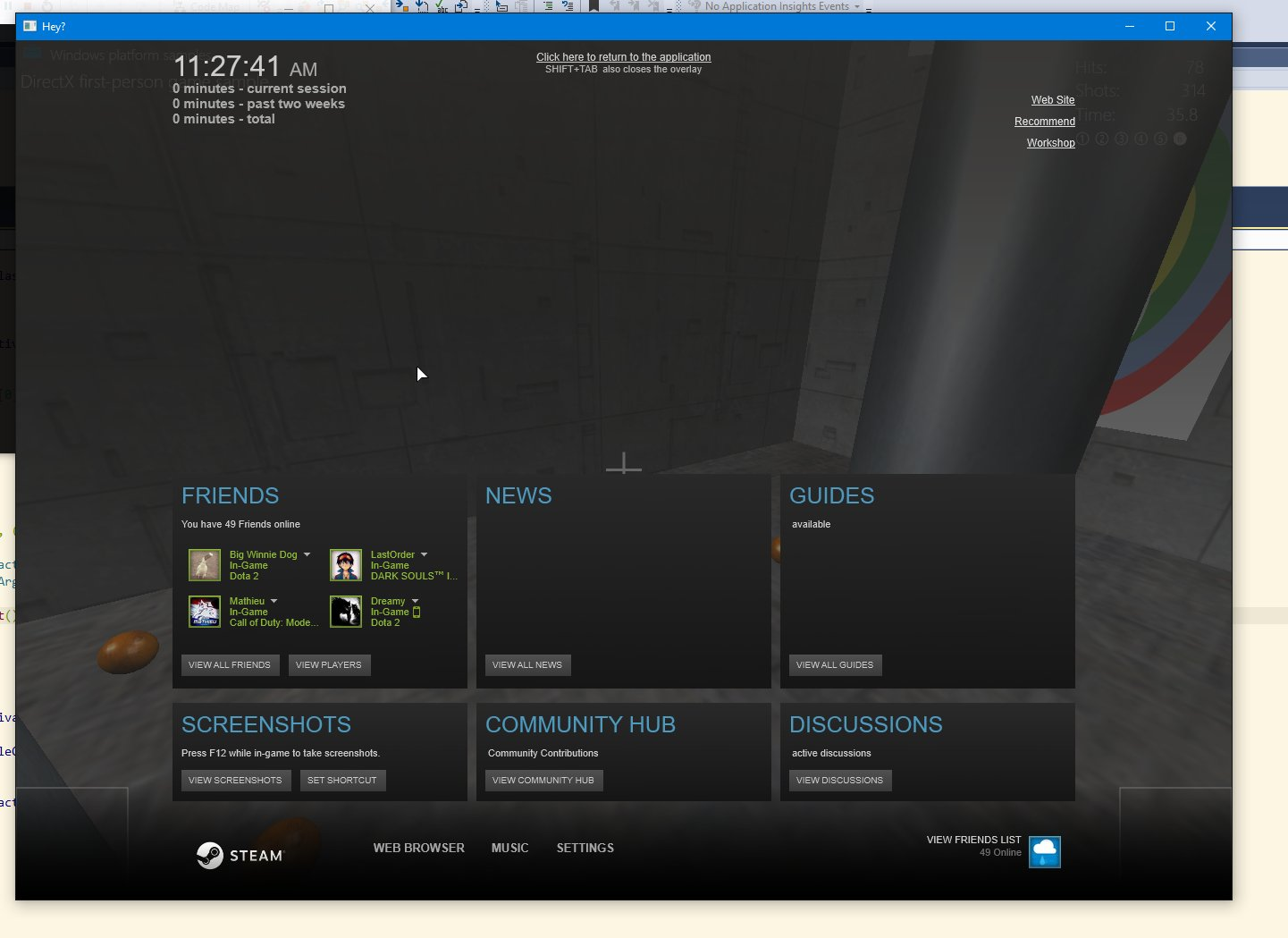 Steam overlay on an example app
