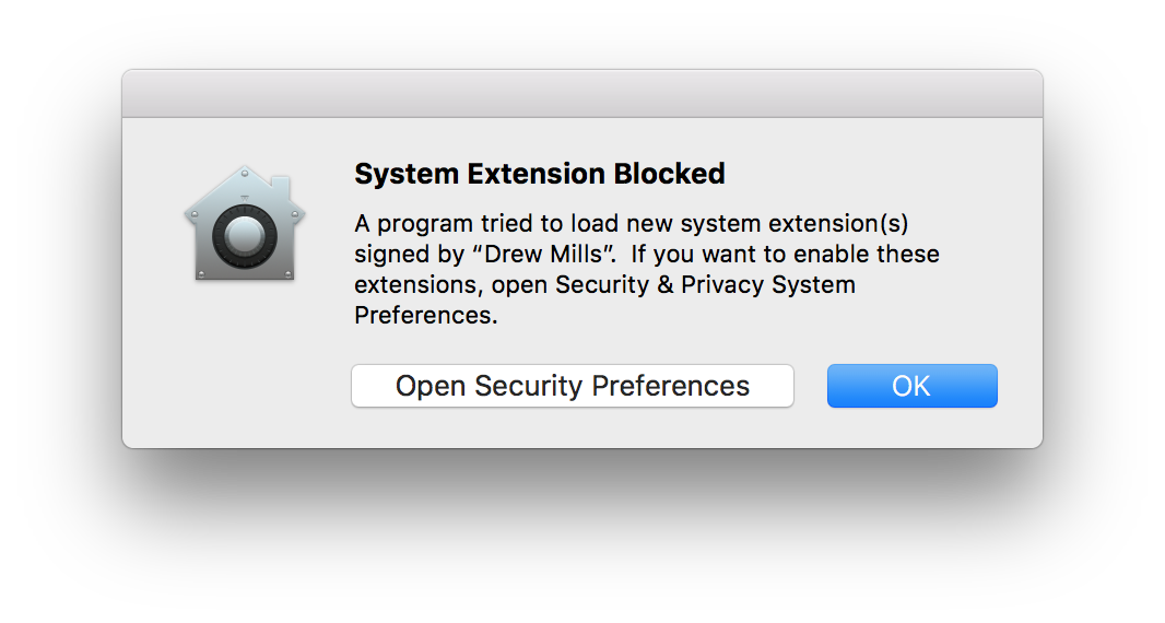 System prompt: System Extension Blocked