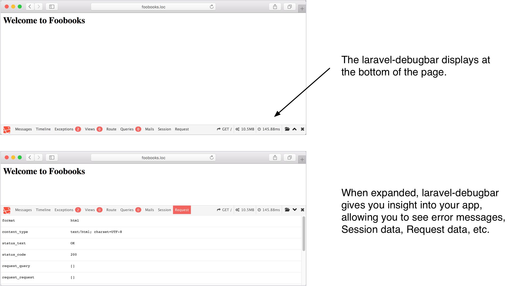 Preview of the laravel-debugbar