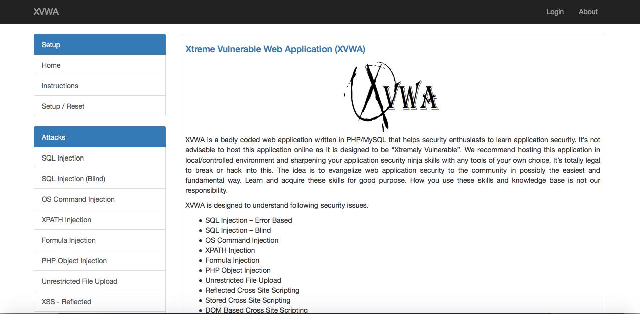 Image of XVWA Home Page