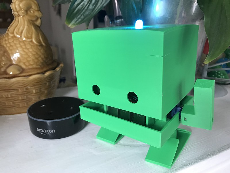 Image of TJBot with his LED turned on