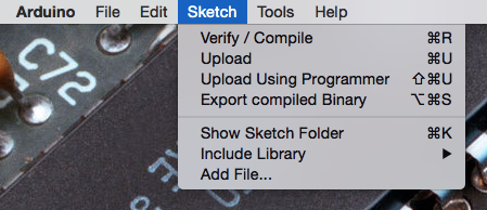 screenshot of the Sketch menu in Arduino IDE with Export compiled binary menu item highlighted in blue