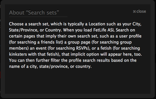 """Screenshot of the """"Help with search set"""" pop-up."""