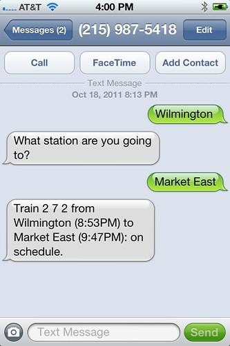 SEPTAlking SMS interface