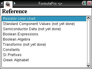 Reference Screen of FormulaPro