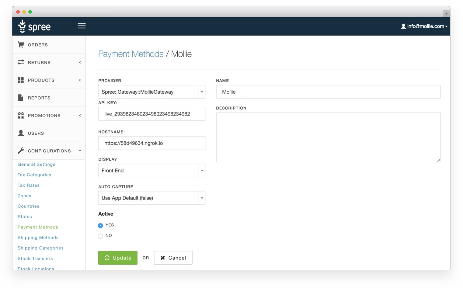 Add new Payment Method.
