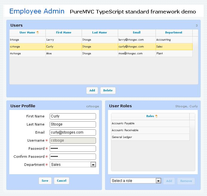 PureMVC TypeScript Demo: Employee Admin