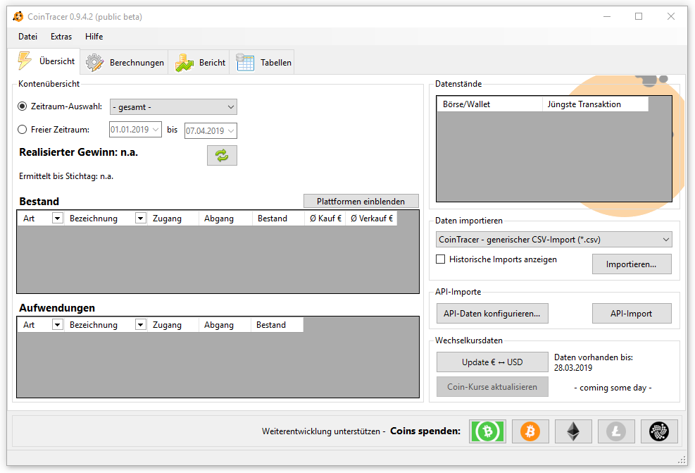 Screenshot CoinTracer 0.9.4.2