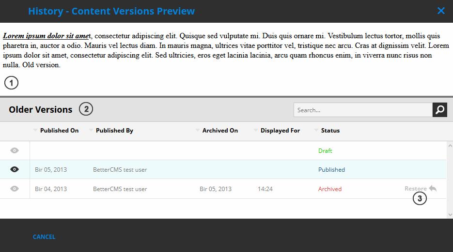 Content versions window