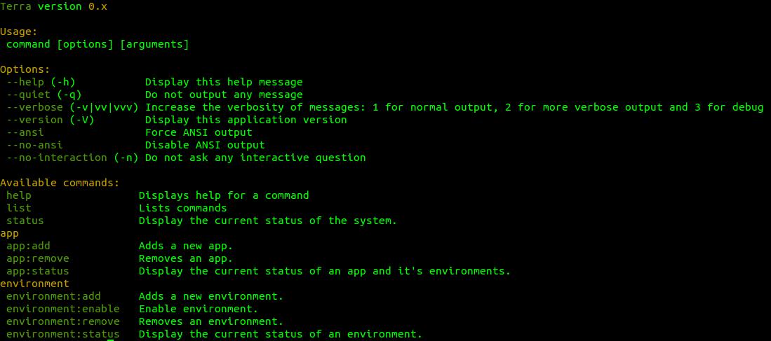 Terra command line interface