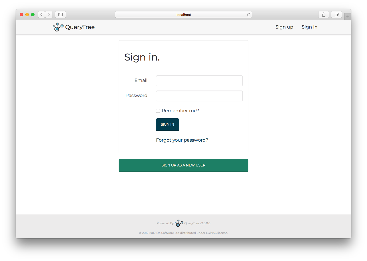 The QueryTree login page