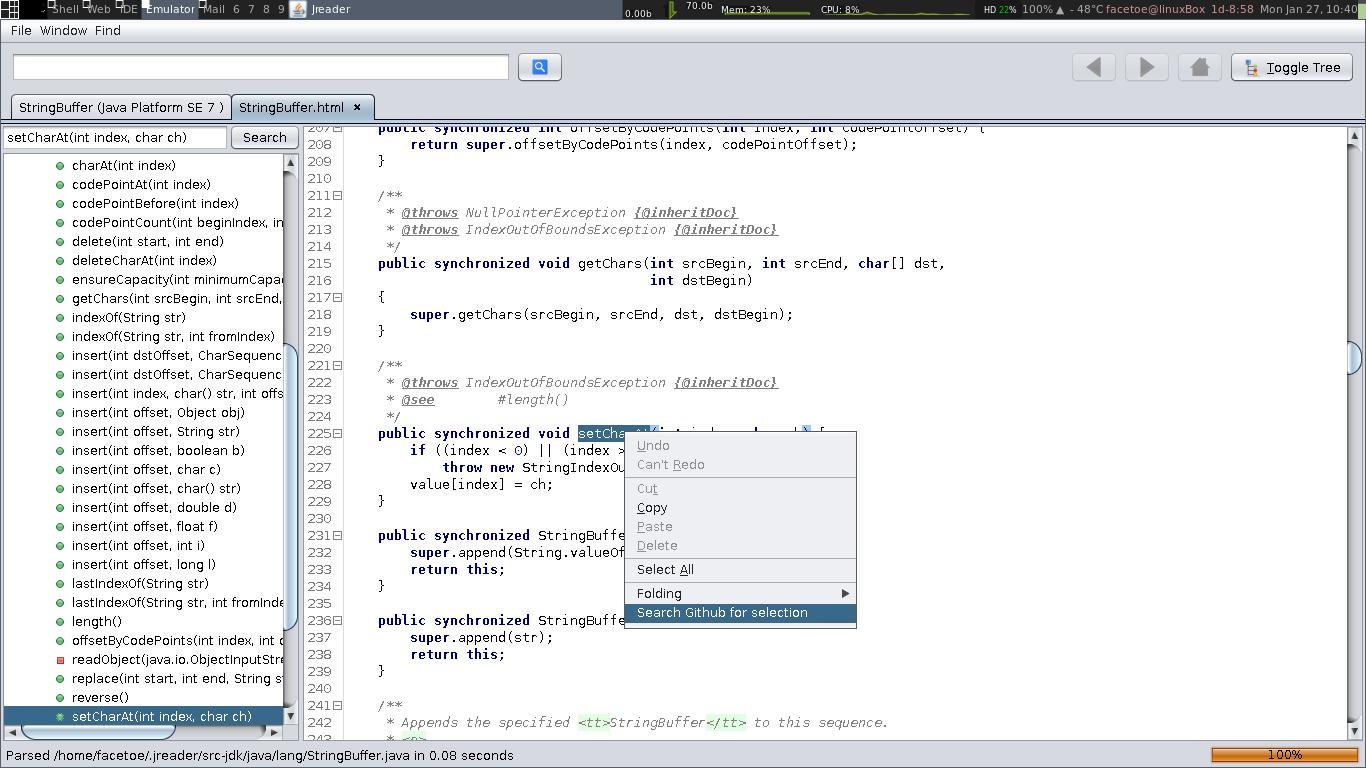 Github Facetoe Jreader Easily Navigate Java Documentation And