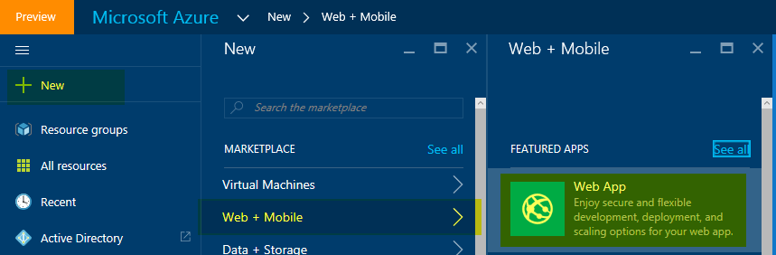 Adding an Azure web app