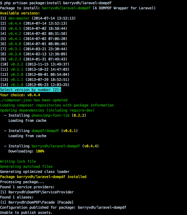 php artisan package:install barryvdh/laravel-dompdf