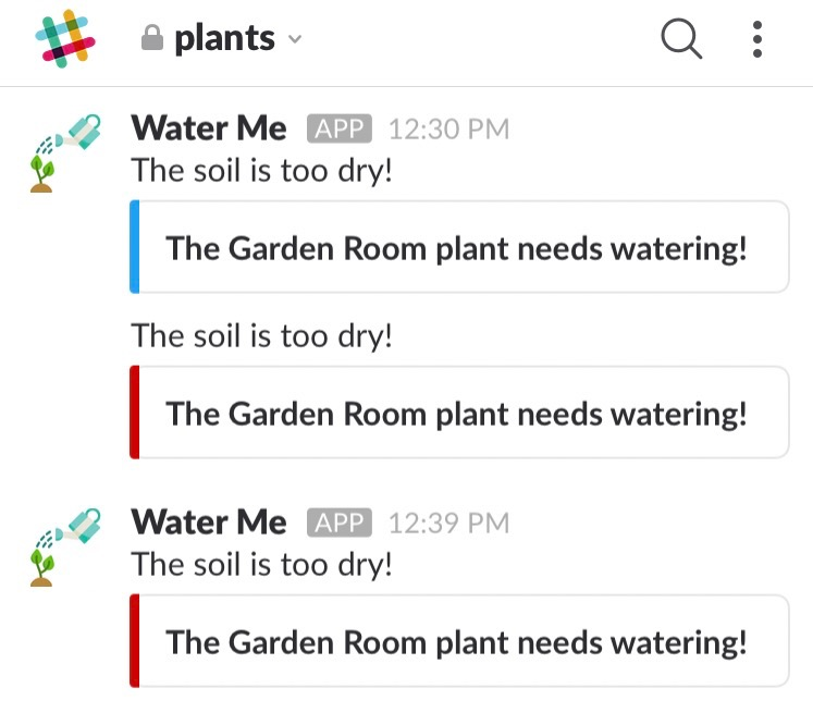 Slack notifications generated by the Pi