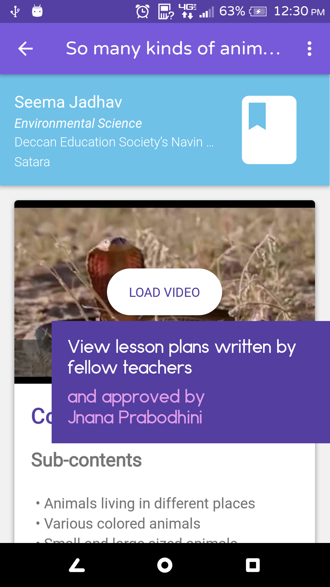 Find lesson plans approved by Jnana Prabodhini