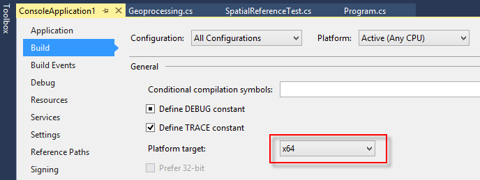 Visual Studio Build Settings