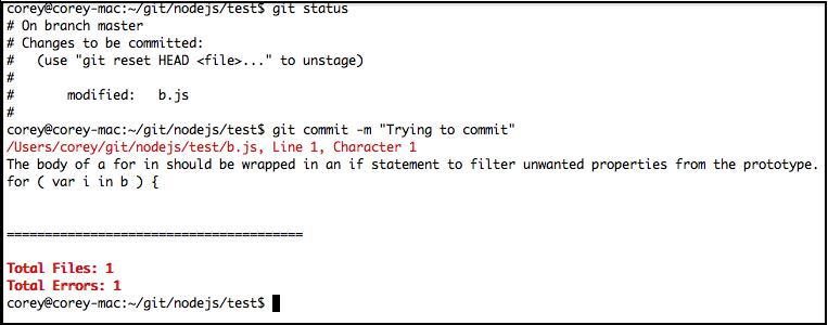 Nodelint Git Pre Commit Example