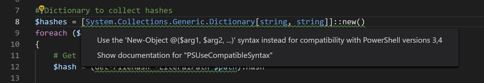 VSCode suggesting New-Object instead of ::new() syntax