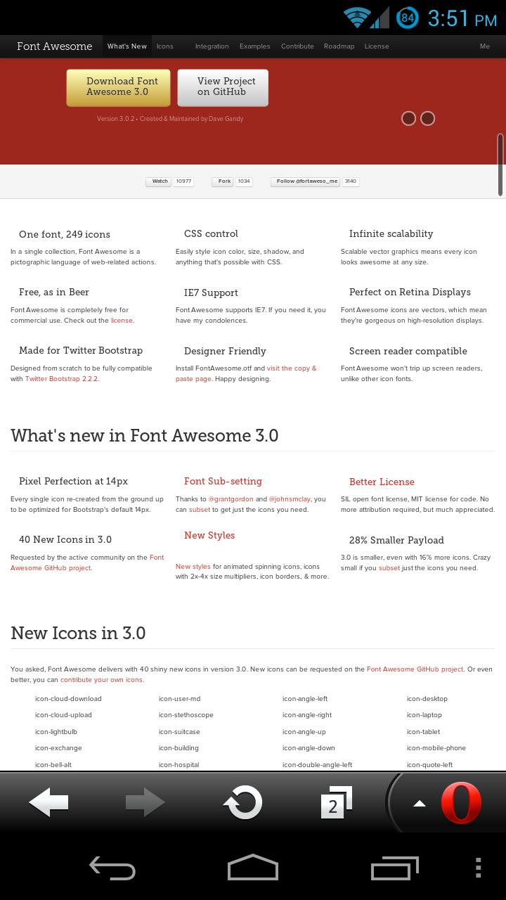 Font Awesome in Opera Mobile 12.10