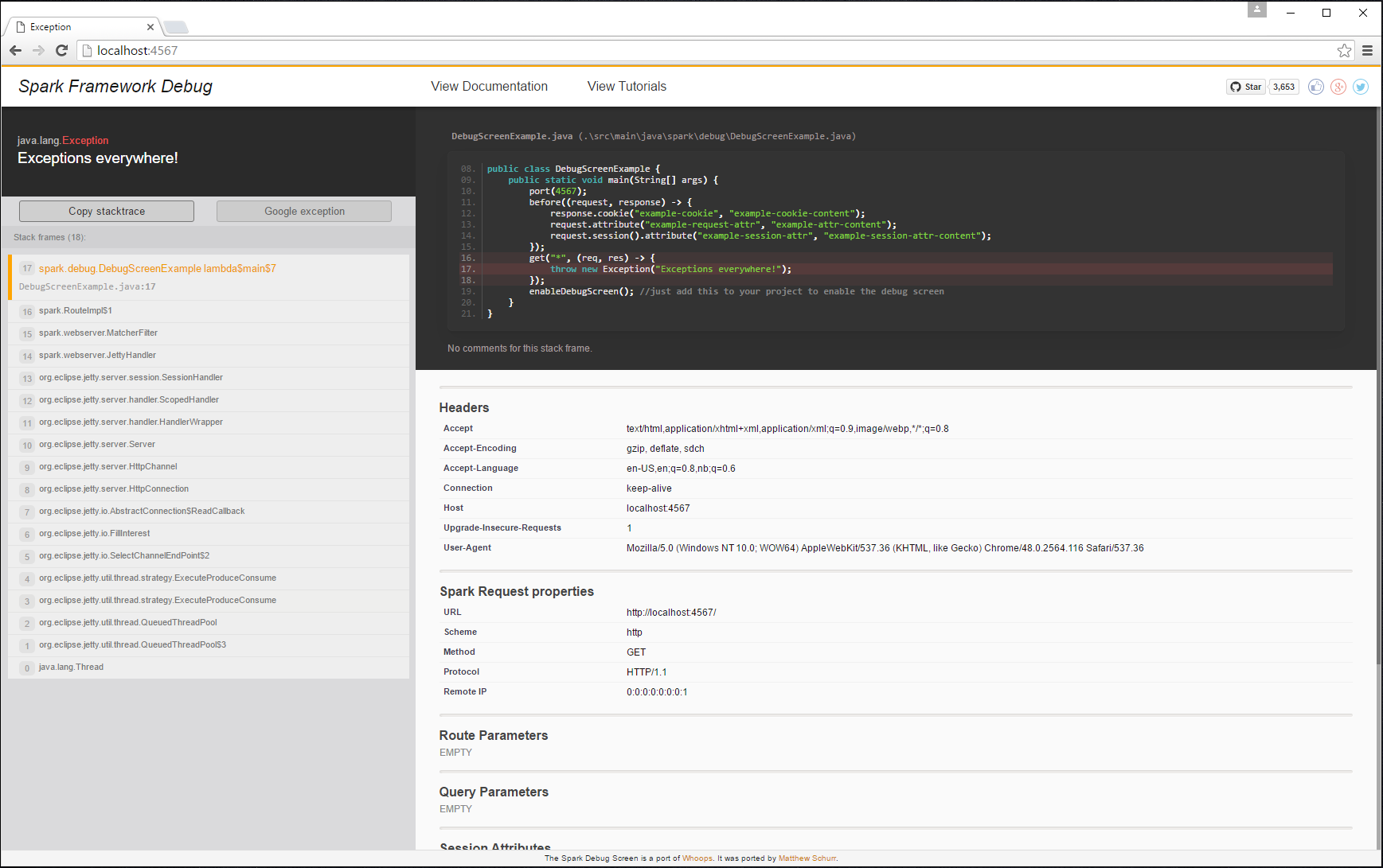 GitHub - perwendel/spark-debug-tools: Better error pages for