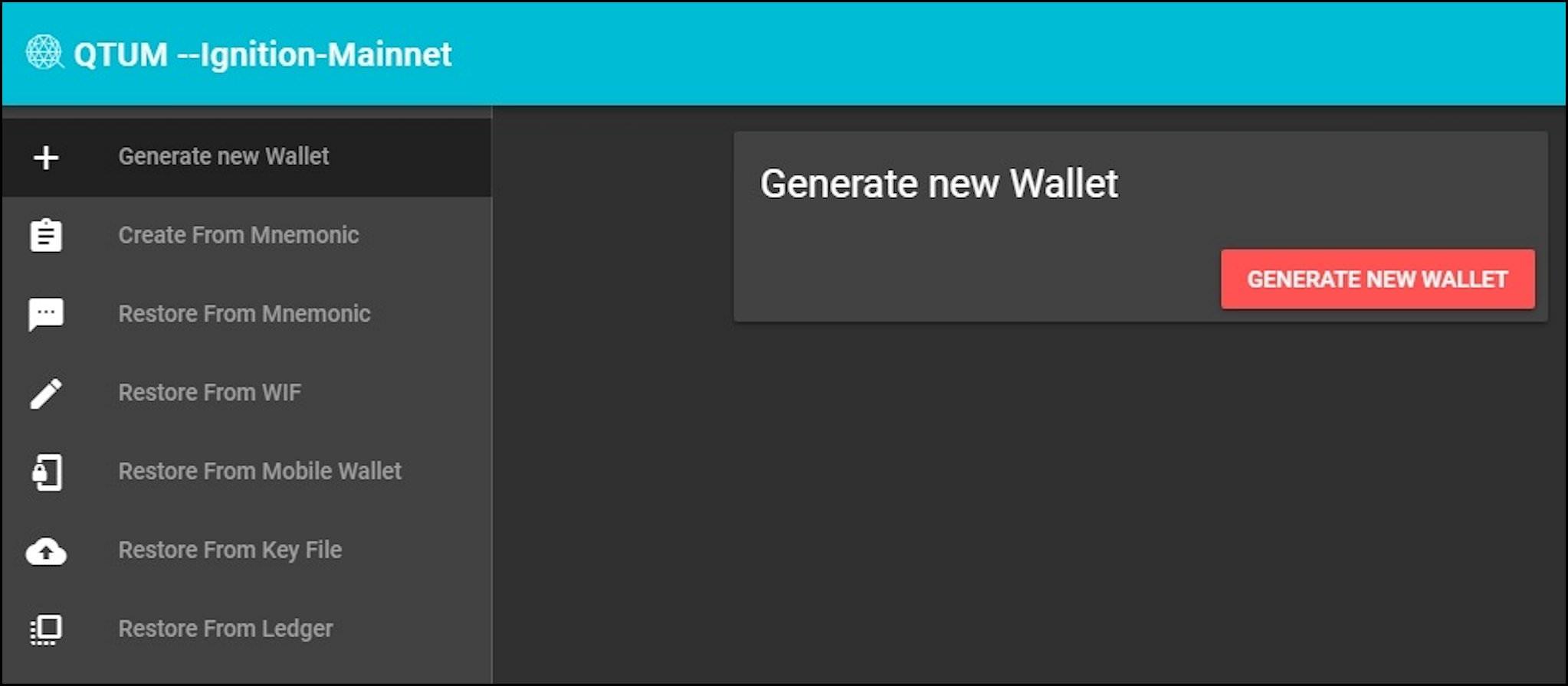 2. Generate New Wallet