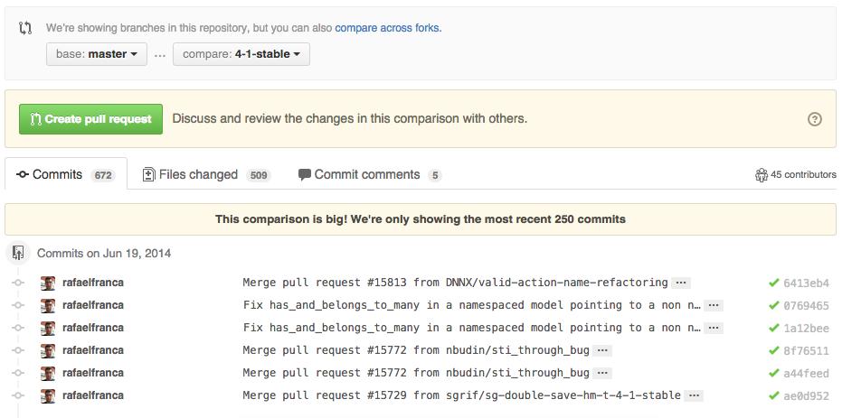Rails branch compare example