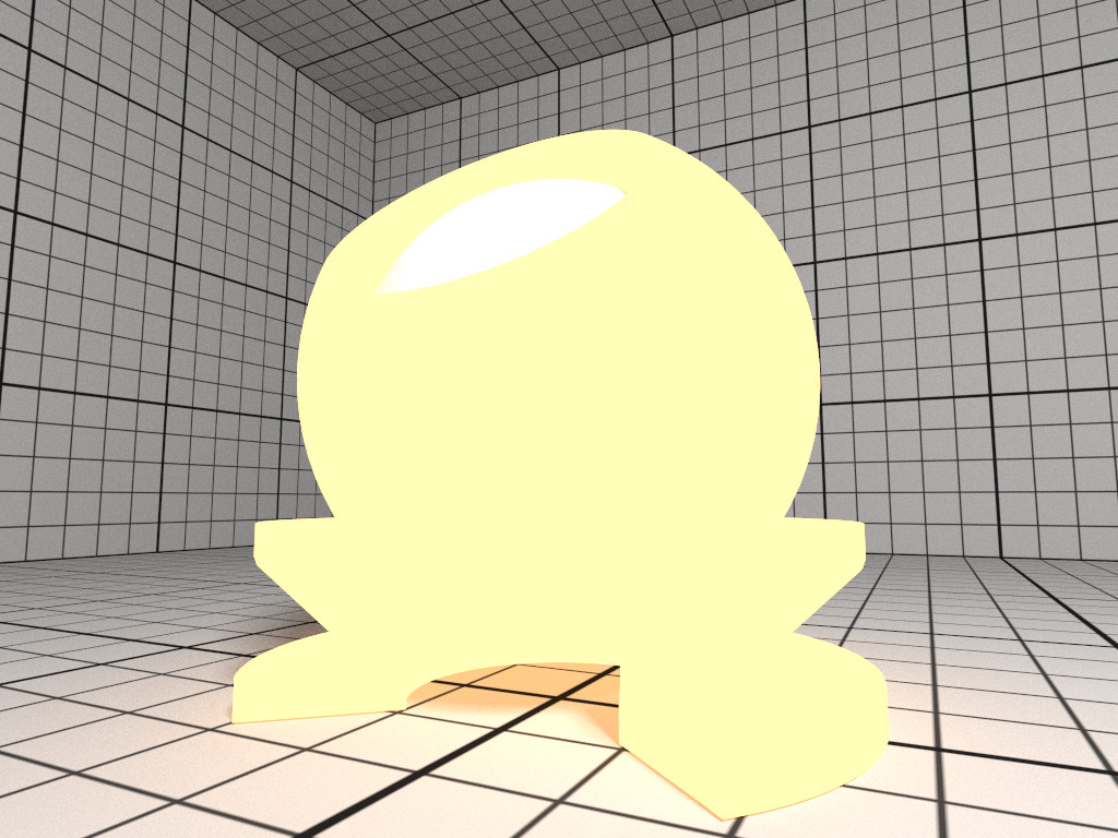 Rendering of a yellow Luminous material.