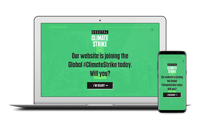 A screenshot of the Digital Climate Strike full page widget with close button