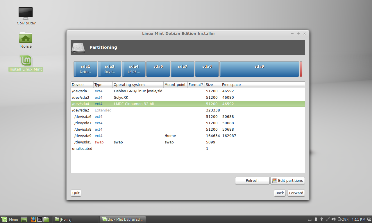 lmde installer - no partition lables