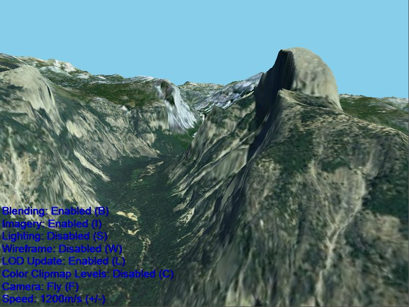 Screen shot of Half Dome as rendered by OpenGlobe