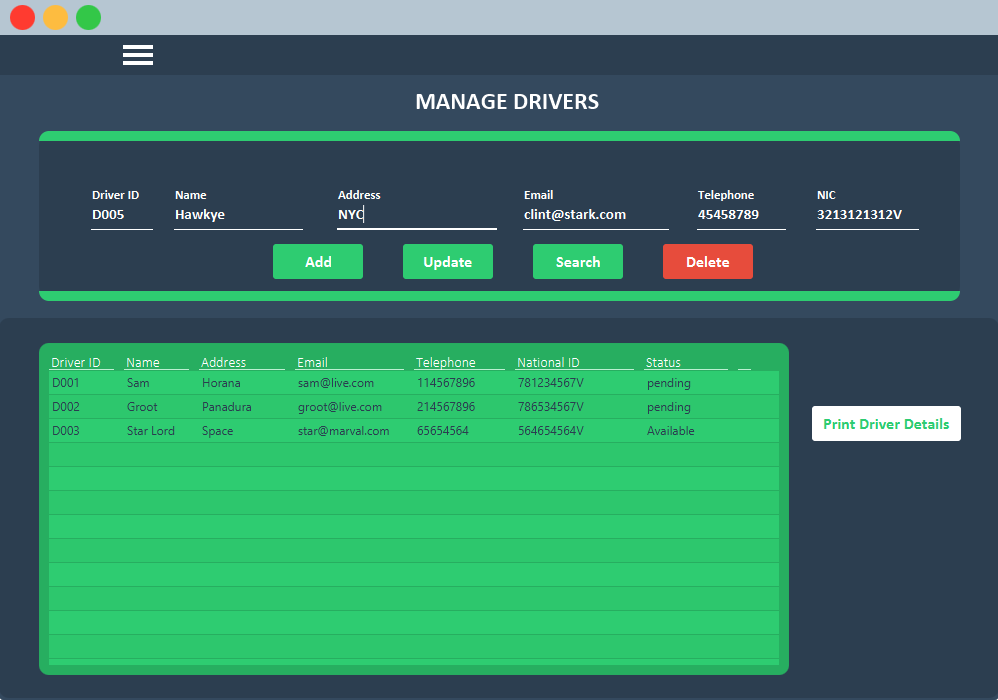 Manage Driver UI