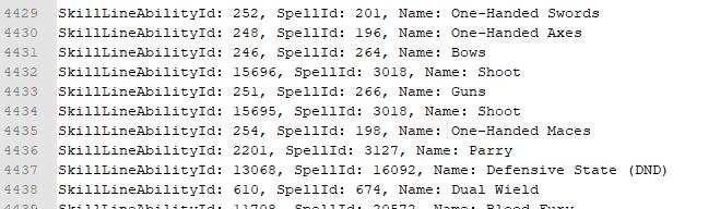 Debug log of SkillLineAbility records