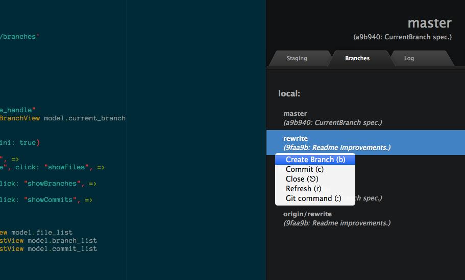 screenshot: dark theme; branch list; context menu
