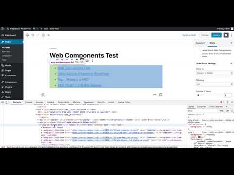 Web Components Latest Posts block type in Gutenberg Demo
